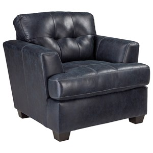 Faux Leather Chair with Tufted Back