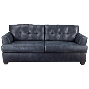 Faux Leather Sofa with Tufted Back