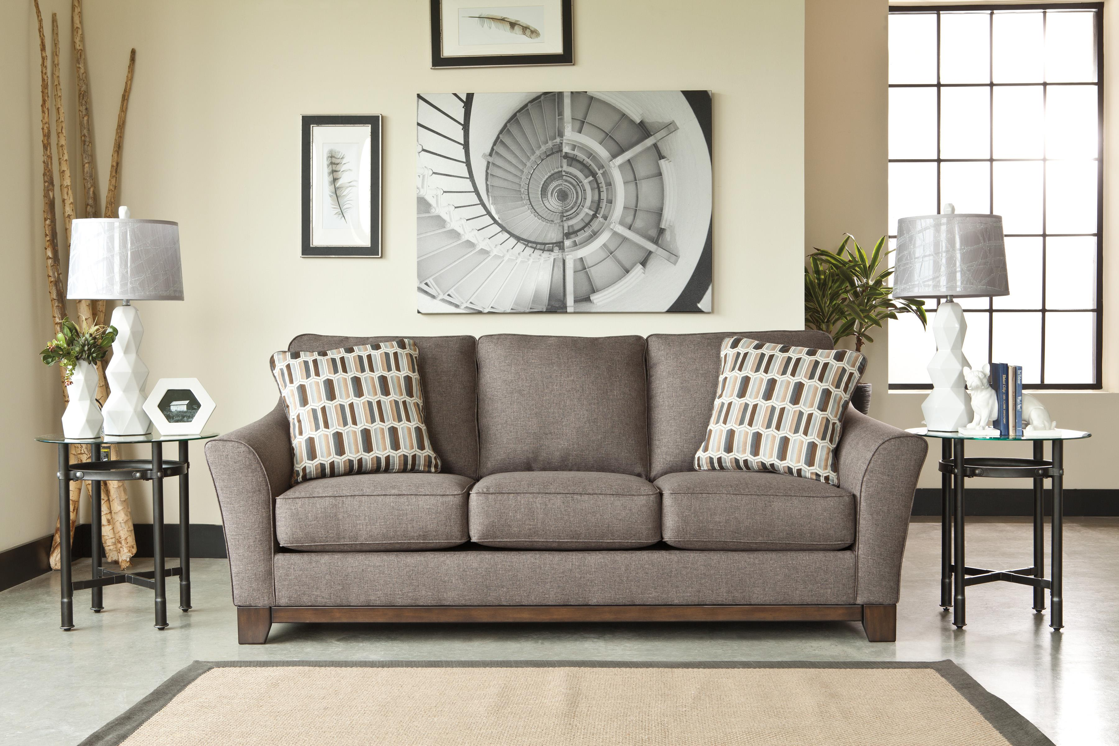 Contemporary Sofa With Front Wood Rail By Benchcraft Wolf And Gardiner Wolf Furniture