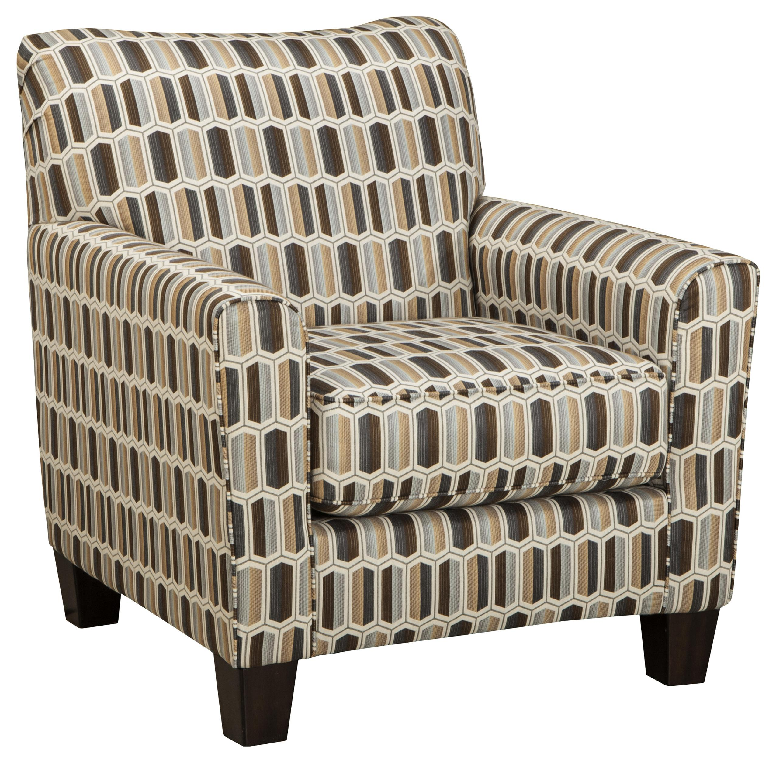 Contemporary Accent Chair With Geometric Print Fabric
