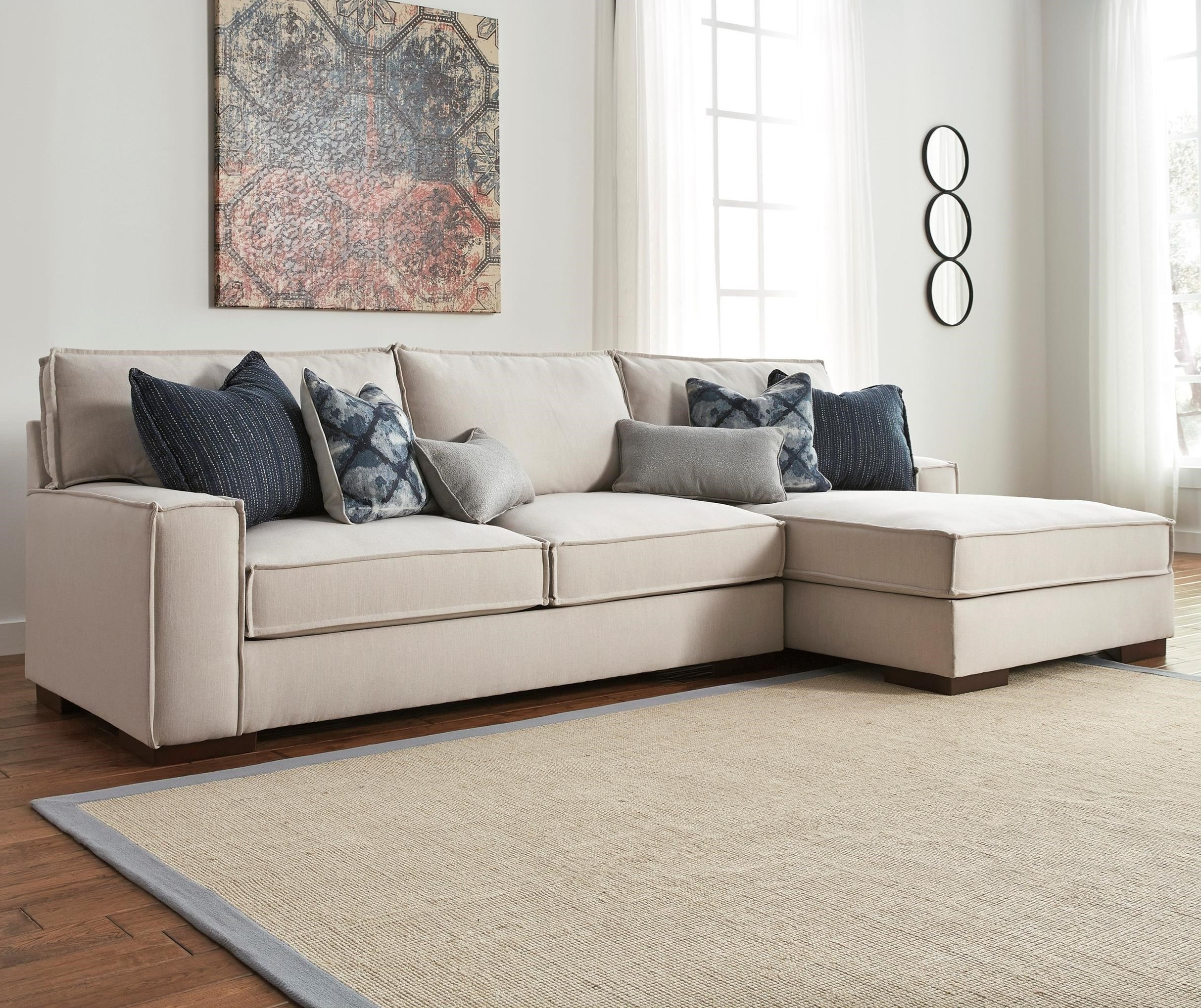 Modern 2 piece sectional with right chaise and ultraplush for Benchcraft chaise lounge