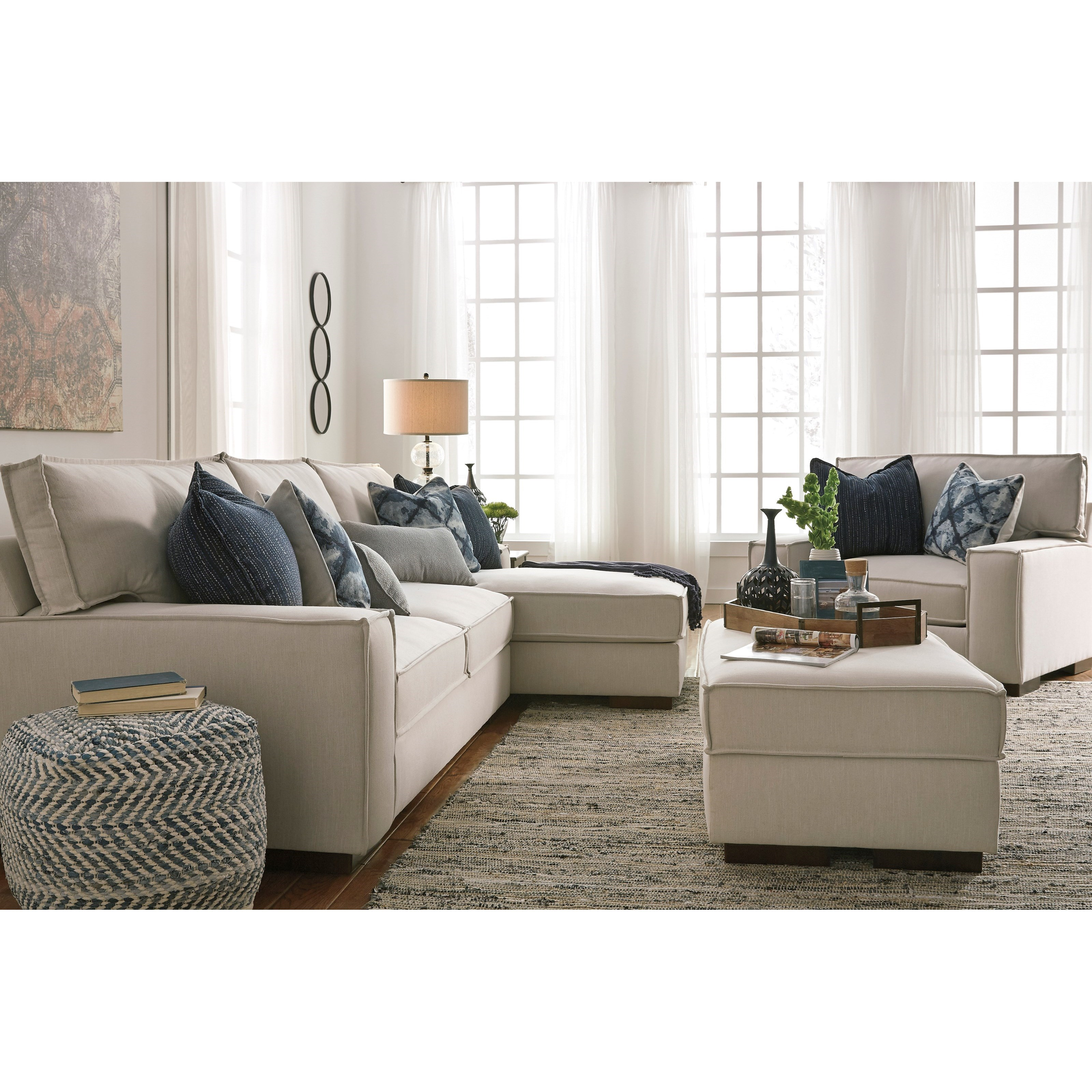 Modern 2 Piece Sectional with Right Chaise and UltraPlush Seat