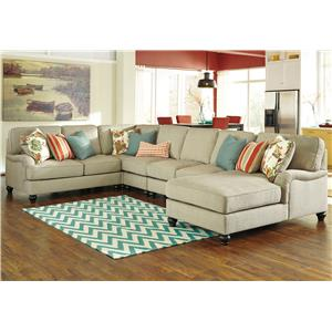 Benchcraft Kerridon 5-Piece Sectional with Right Chaise