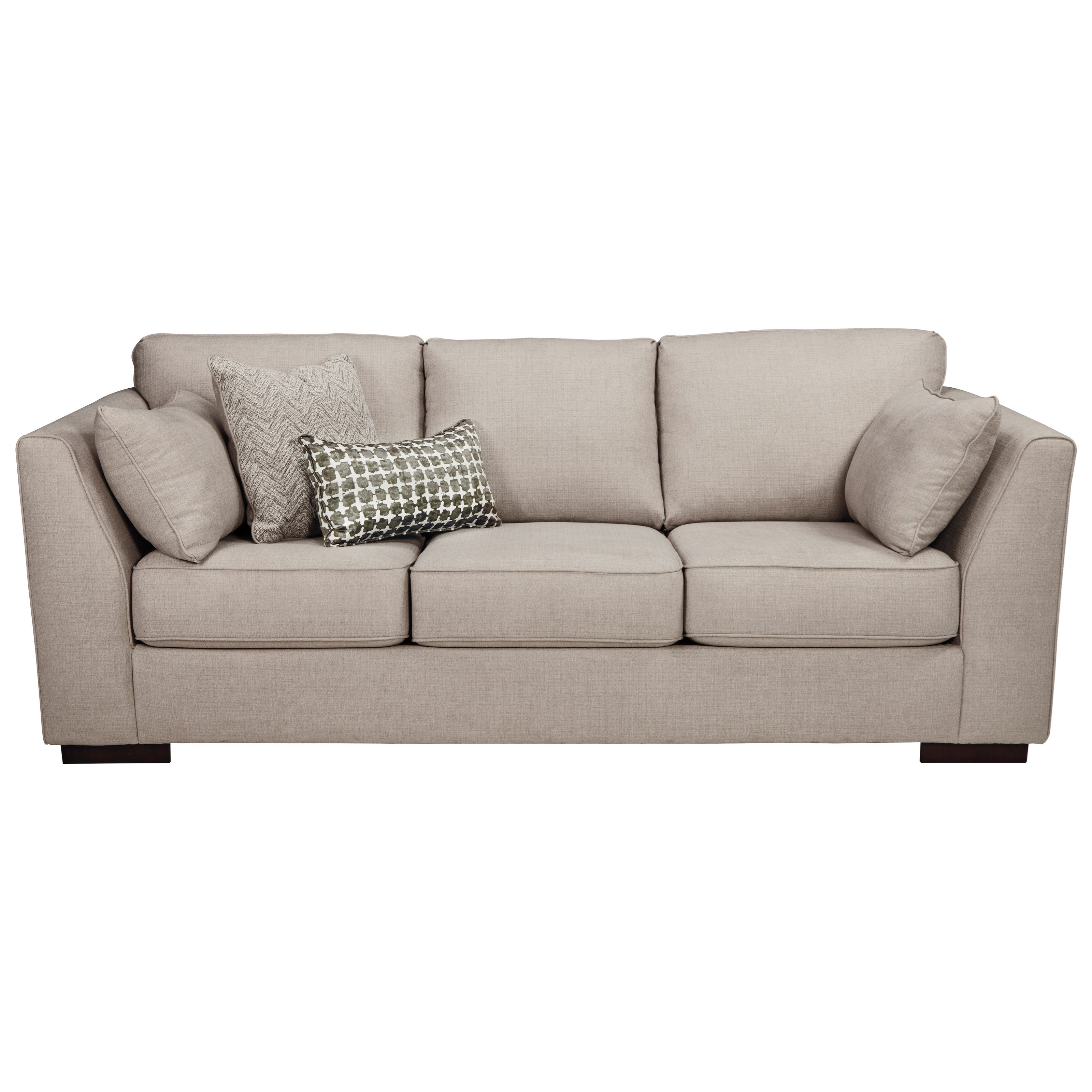 Sofa With Shelter Arms And Reversible Coil Seat Cushions