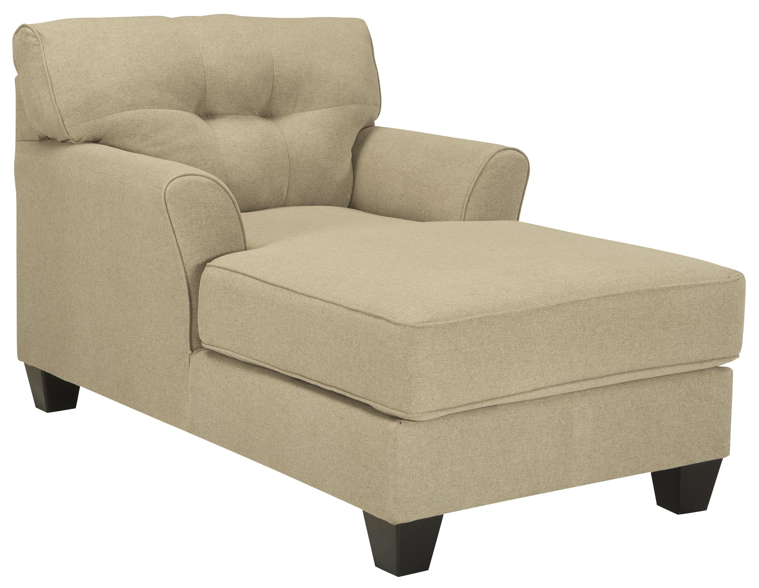 Buttonless Tufted Two Arm Chaise