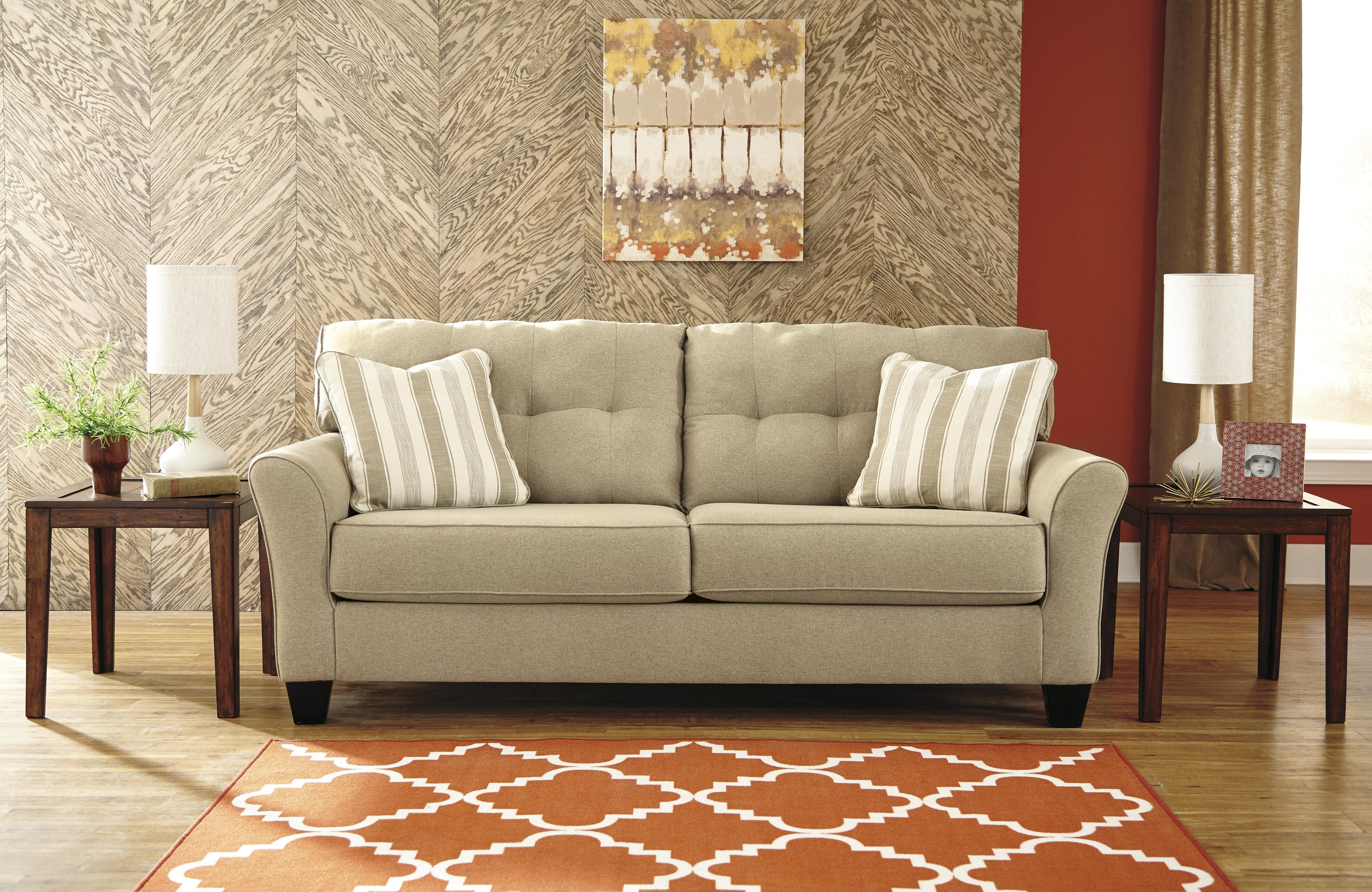 Contemporary Queen Sofa Sleeper in Khaki Fabric by Benchcraft