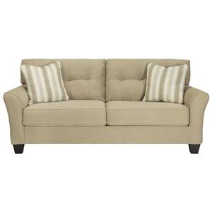 Contemporary Queen Sofa Sleeper in Khaki Fabric