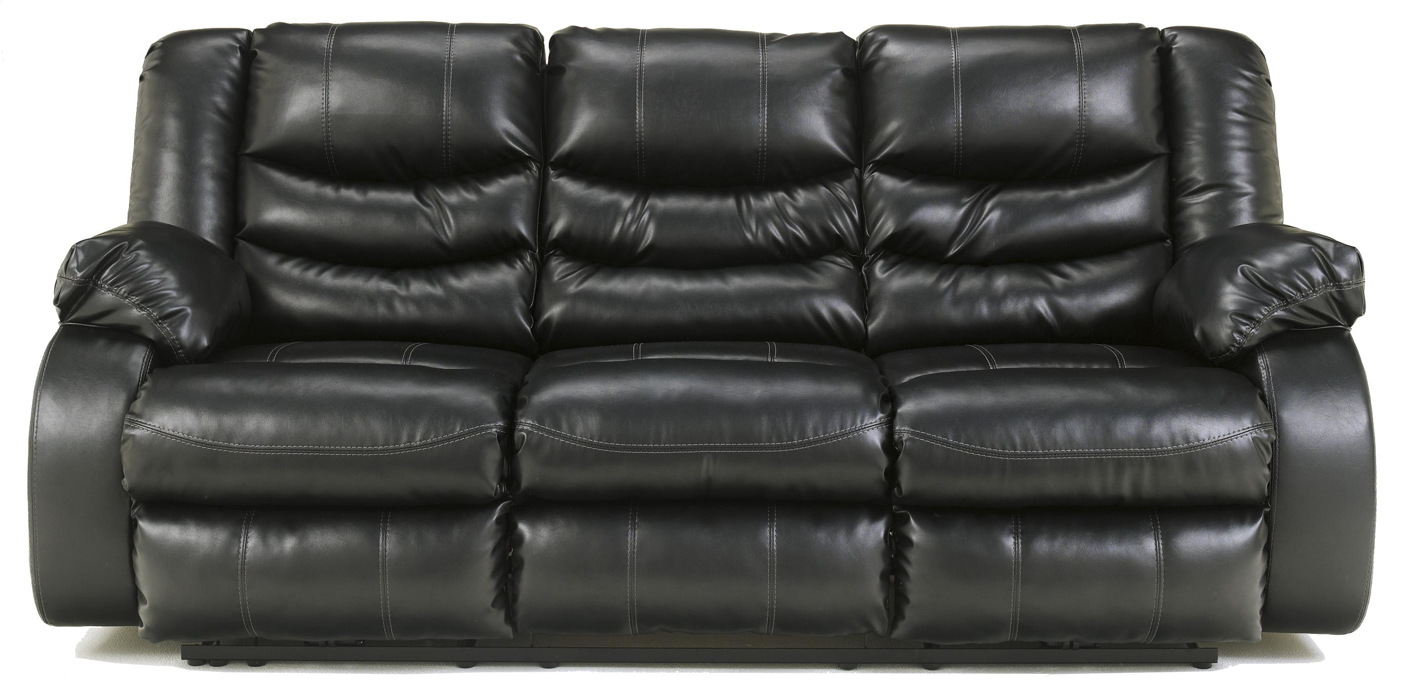 Contemporary Faux Leather Reclining Sofa With Pillow Arms