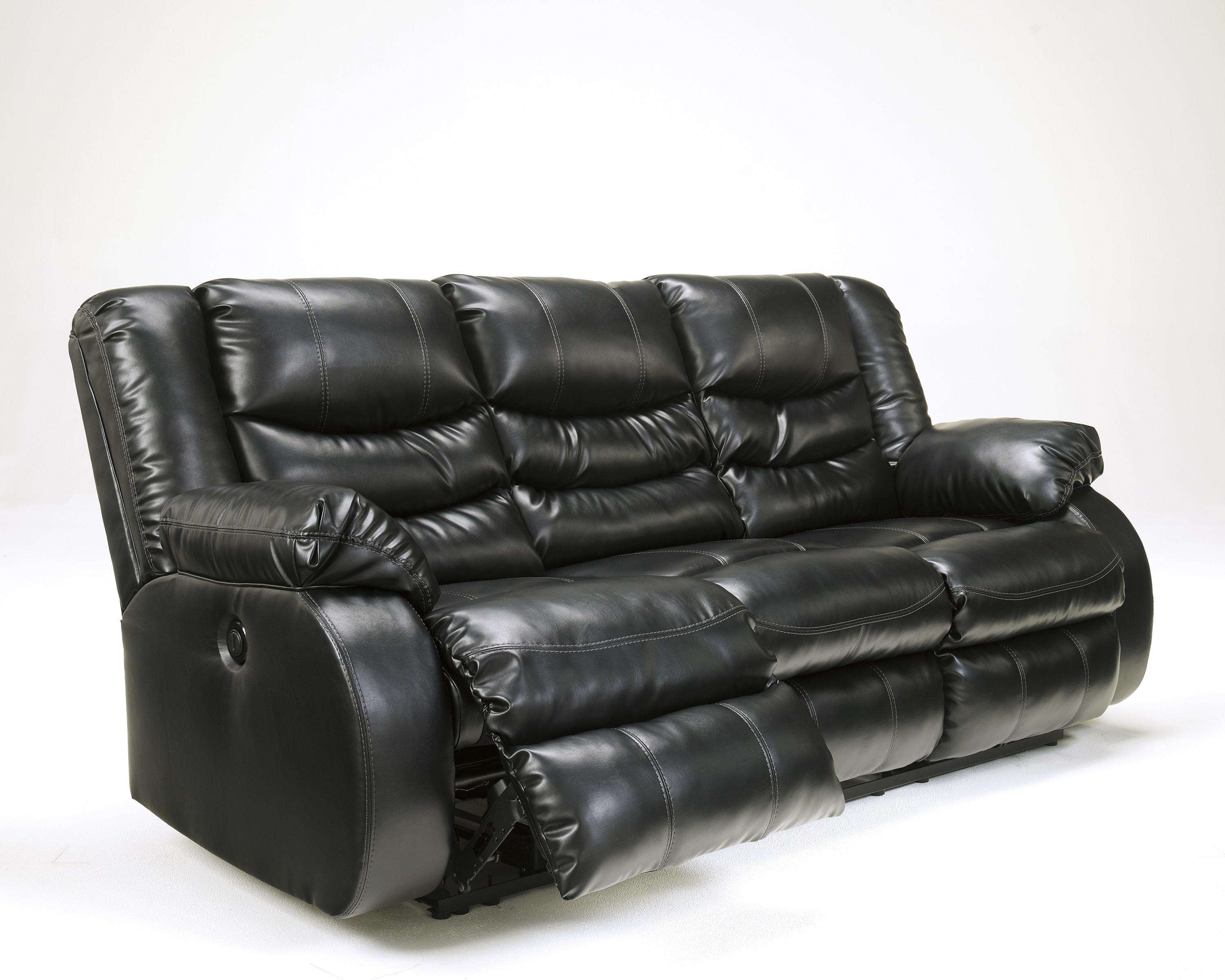Contemporary Faux Leather Reclining Sofa with Pillow Arms by