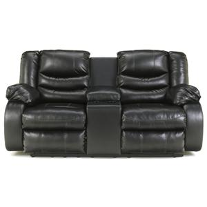 Contemporary Double Reclining Loveseat with Console