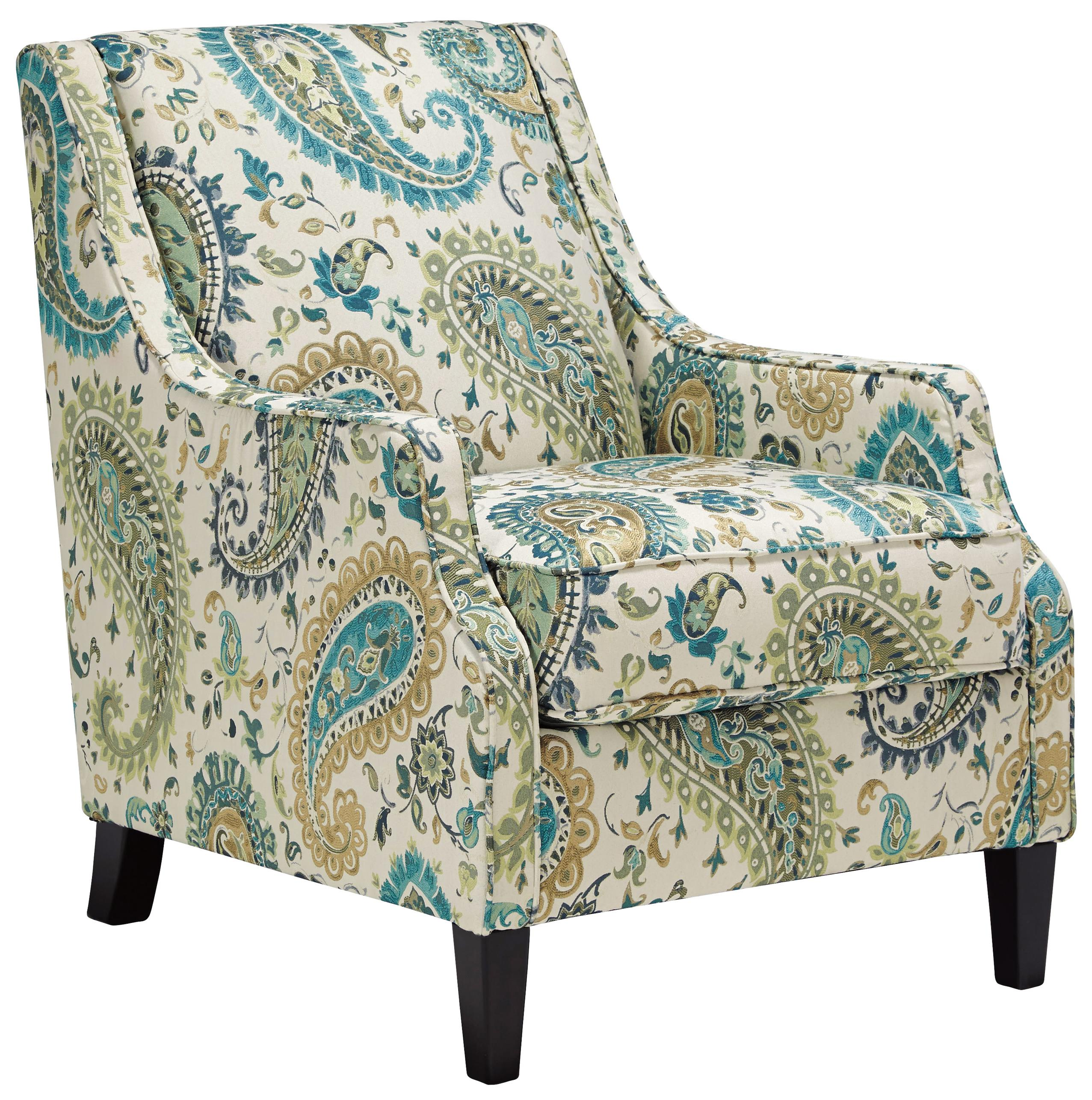 Transitional Accent Chair In Paisley Fabric