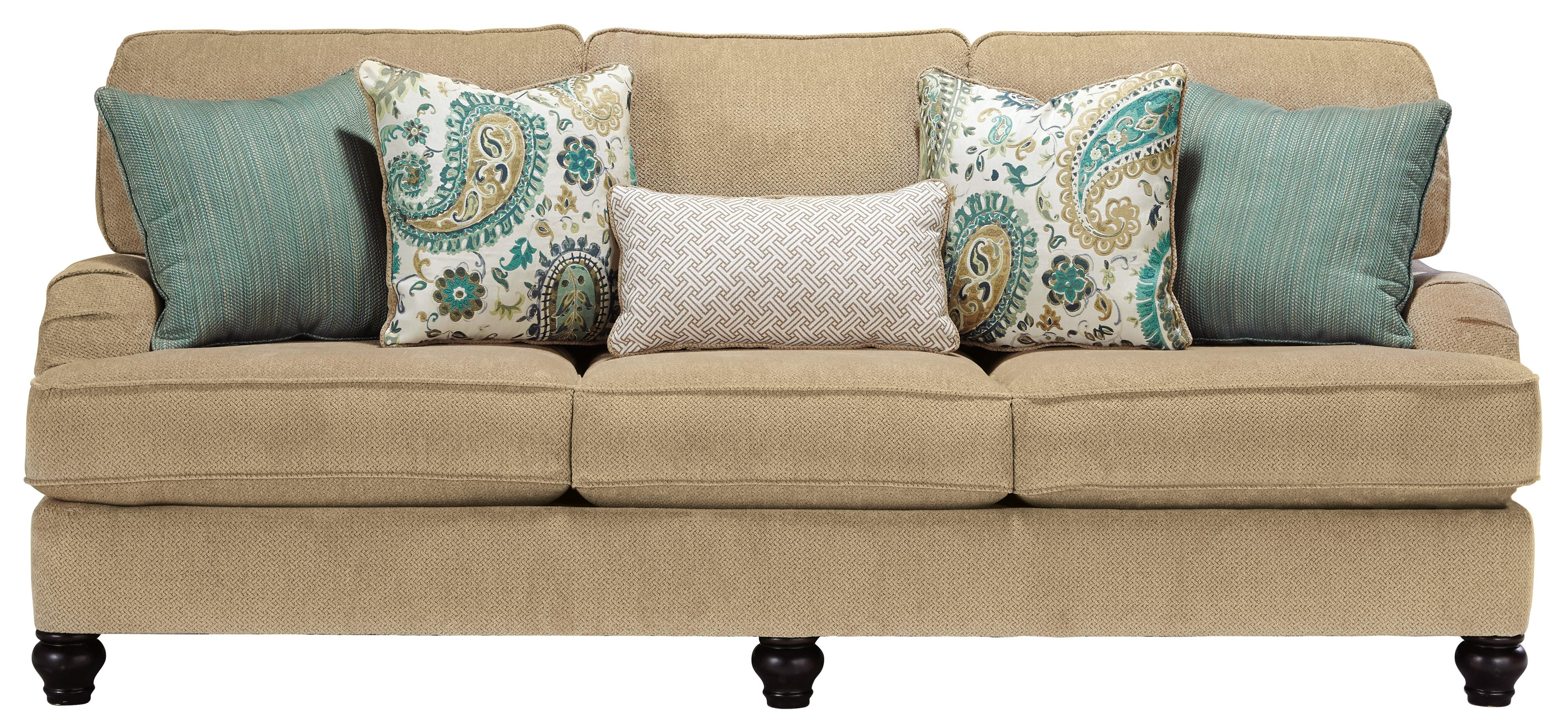 Sofa with Reversible Coil Seat Cushions & English Arms by