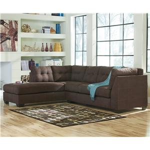 Ashley/Benchcraft Maier - Walnut 2-Piece Sectional w/ Sleeper Sofa & Ch