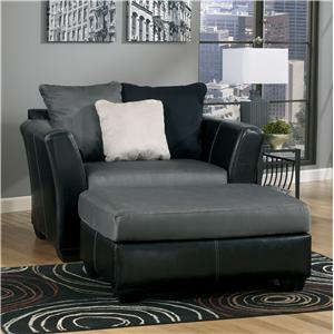 Benchcraft Masoli - Cobblestone Chair and a Half & Oversized Accent Ottoman