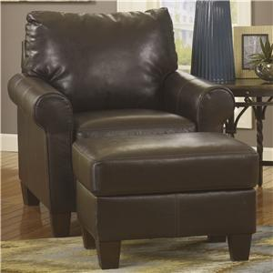 Ashley/Benchcraft Nastas DuraBlend - Bark Chair & Ottoman Set