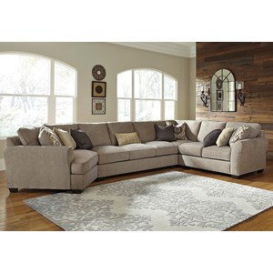 4-Piece Sectional with Left Cuddler & Armless Sofa