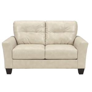 Contemporary Faux Leather Love Seat with Tufted Detailing