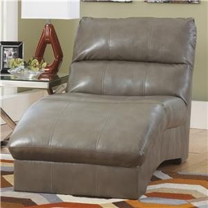 Contemporary Chaise with Bonded Leather Upholstery