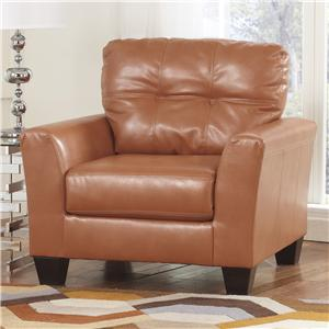 Contemporary Faux Leather Chair with Tufted Detailing