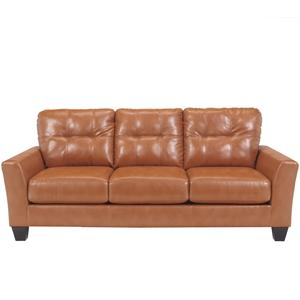 Contemporary Faux Leather Sofa with Tufted Detailing