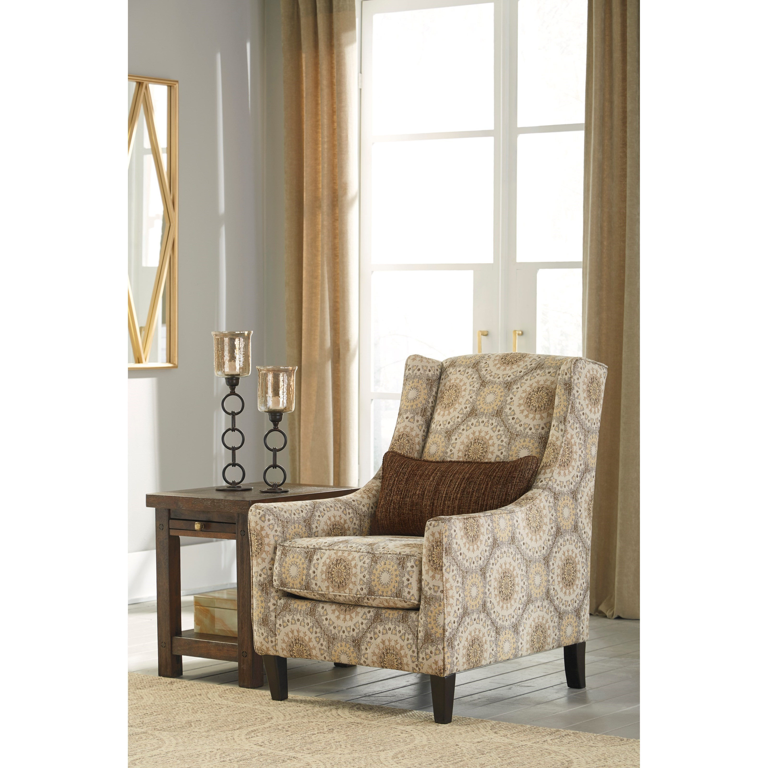 wing back accent chair with lumbar pillow by benchcraft wolf and
