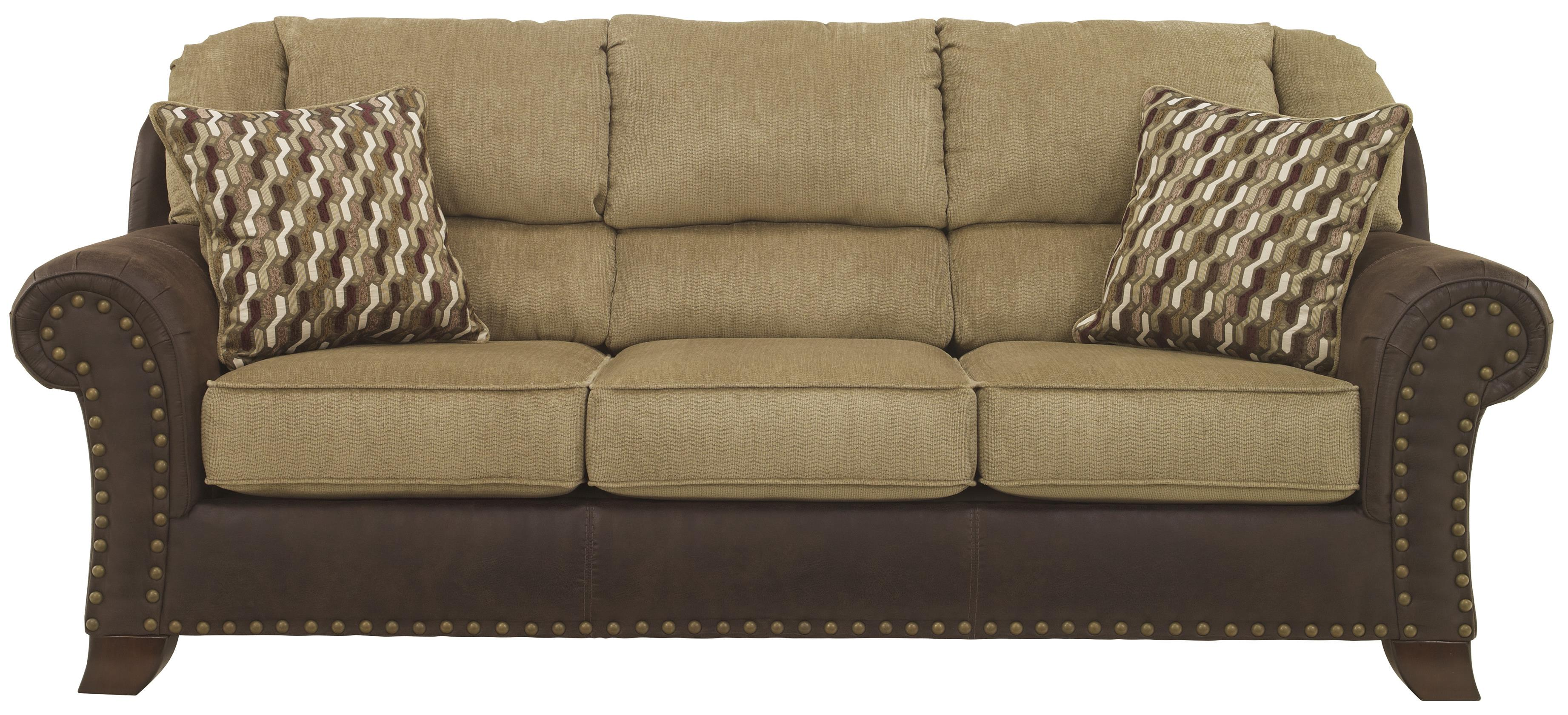 Two-Tone Sofa with Chenille Fabric/Faux Leather Upholstery by ...