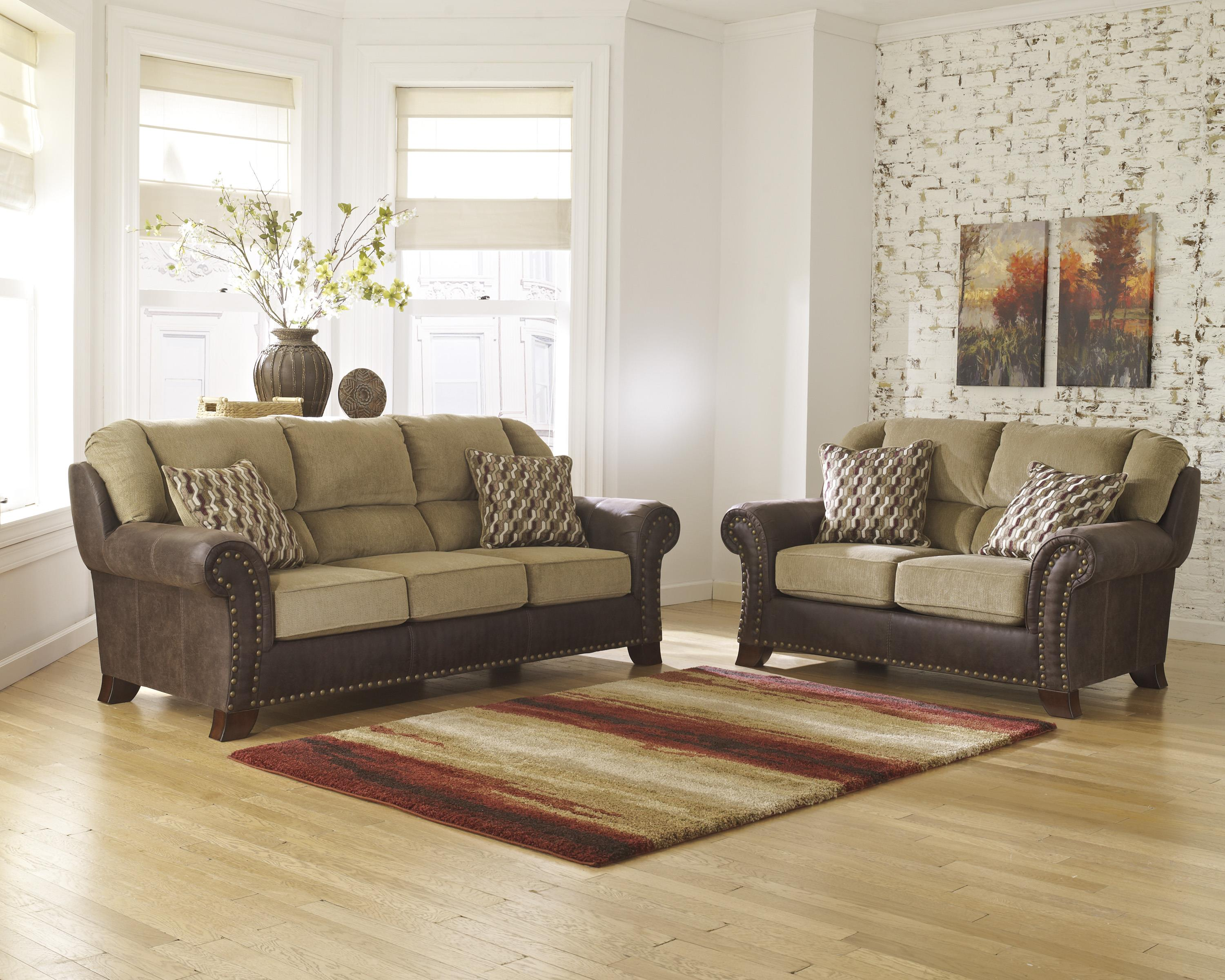Two Tone Sofa with Chenille Fabric Faux Leather Upholstery by