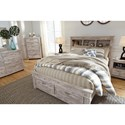 Queen Bookcase Bed with Storage Footboard