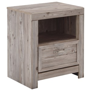Weathered Beige 1-Drawer Nightstand with USB Chargers
