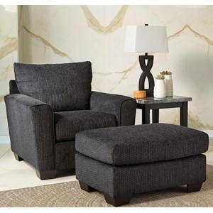 Chair With Rounded Track Arms U0026 Ottoman