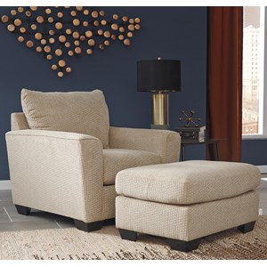 Chair with Rounded Track Arms & Ottoman