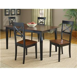 Bernards Jaguar 5-Piece Black/Merlot Dinette Table Set