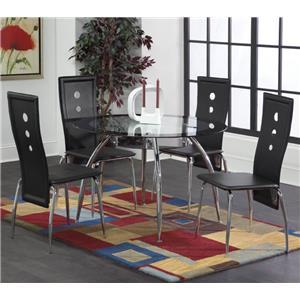 Bernards Lunar 5-Piece Black / Chrome Dinette Table Set