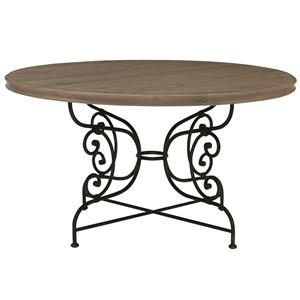 Bernhardt Auberge Round Dining Table with Metal Base