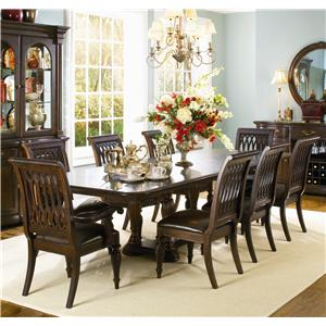 Attirant Double Pedestal Table And 8 Dining Chairs
