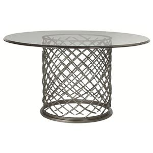 "Bernhardt Hallam Hallam Metal Table with Glass Top (54"")"