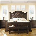 Bernhardt Normandie Manor Queen-Size Upholstered Panel Bed - Shown With Bachelor\'s Chests and Bench - Bed Shown May Not Represent Size Indicated