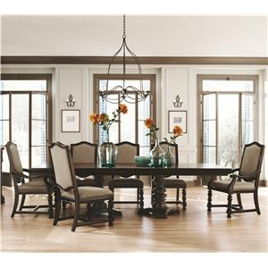 Bernhardt Pacific Canyon Dining Set with Double Pedestal Table