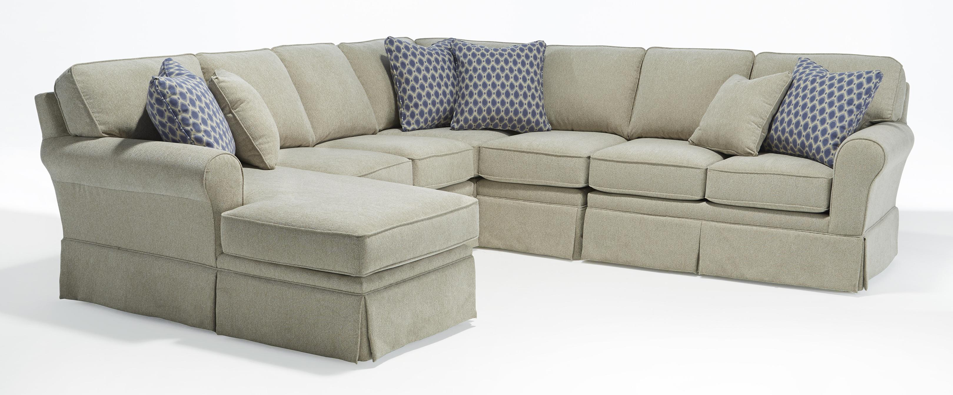 Five Piece Customizable Sectional Sofa With Sock Rolled Arms And Skirted  Base