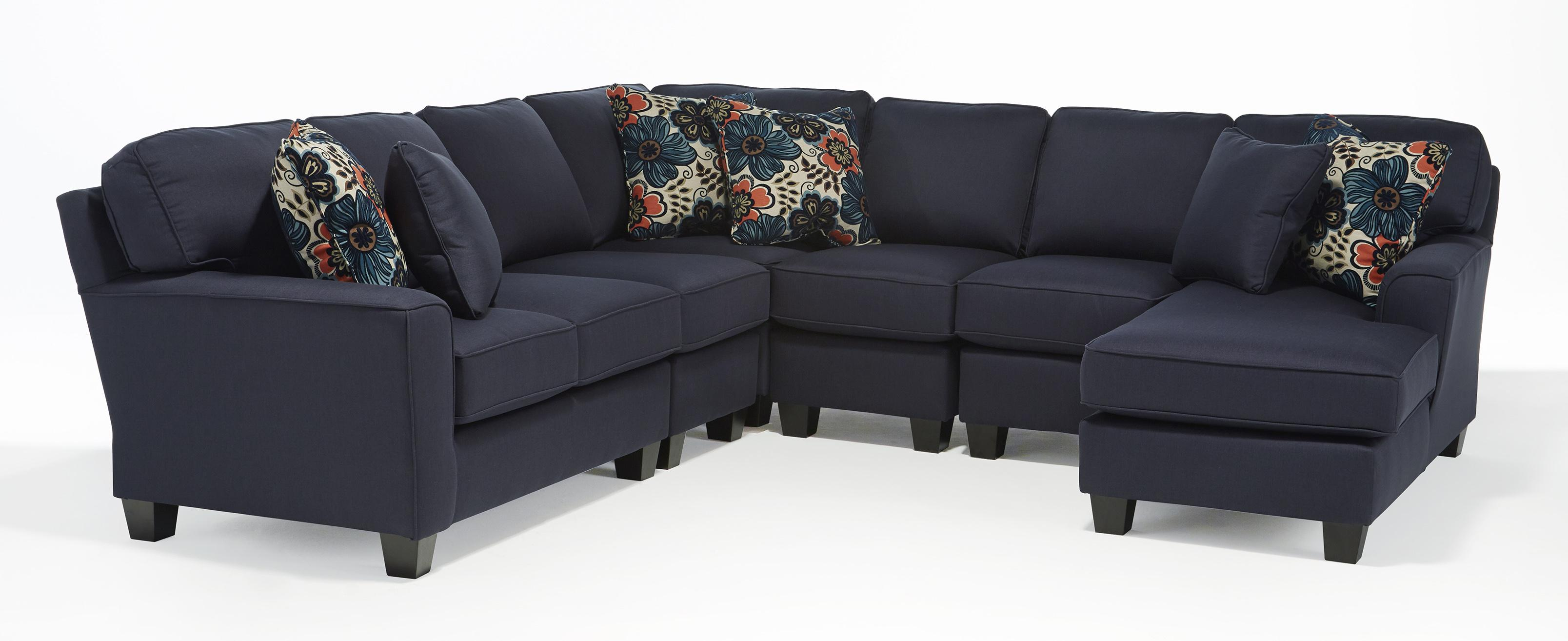 Genial Five Piece Customizable Sectional Sofa With Beveled Arms And Wood Feet
