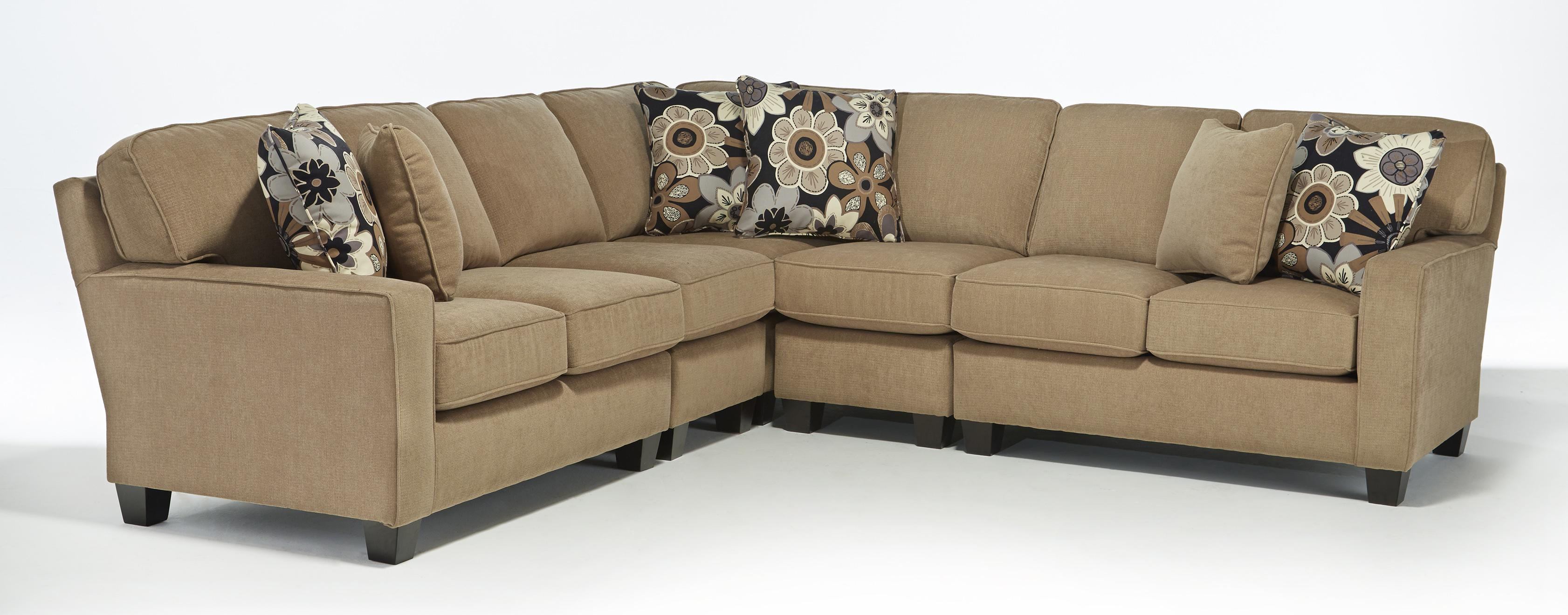 Five piece customizable sectional sofa with track arms and