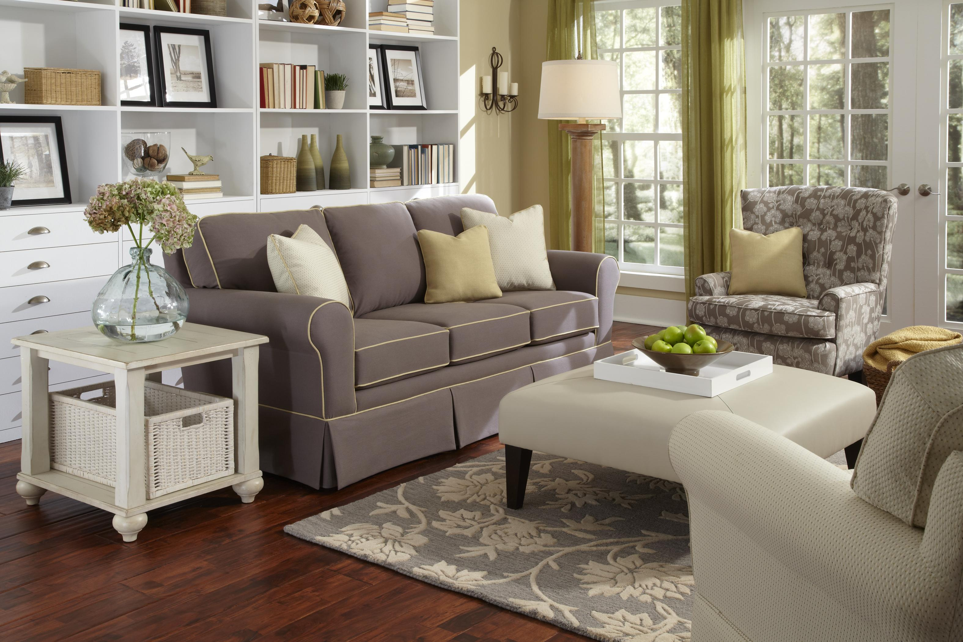 b Customizable b Traditional Sofa with Rolled Arms and Skirted