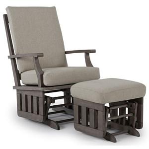 casual glide rocker and ottoman set with modern slat design - Glider Rocker Chair