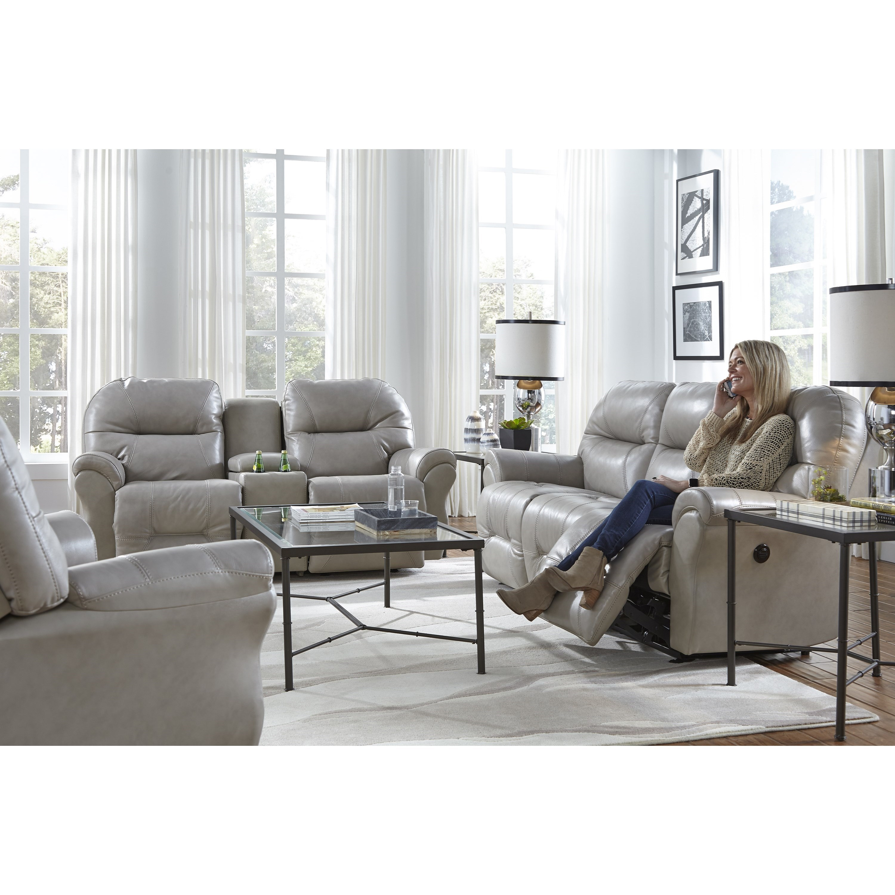 Power Space Saver Reclining Loveseat with Storage Console by Best ...