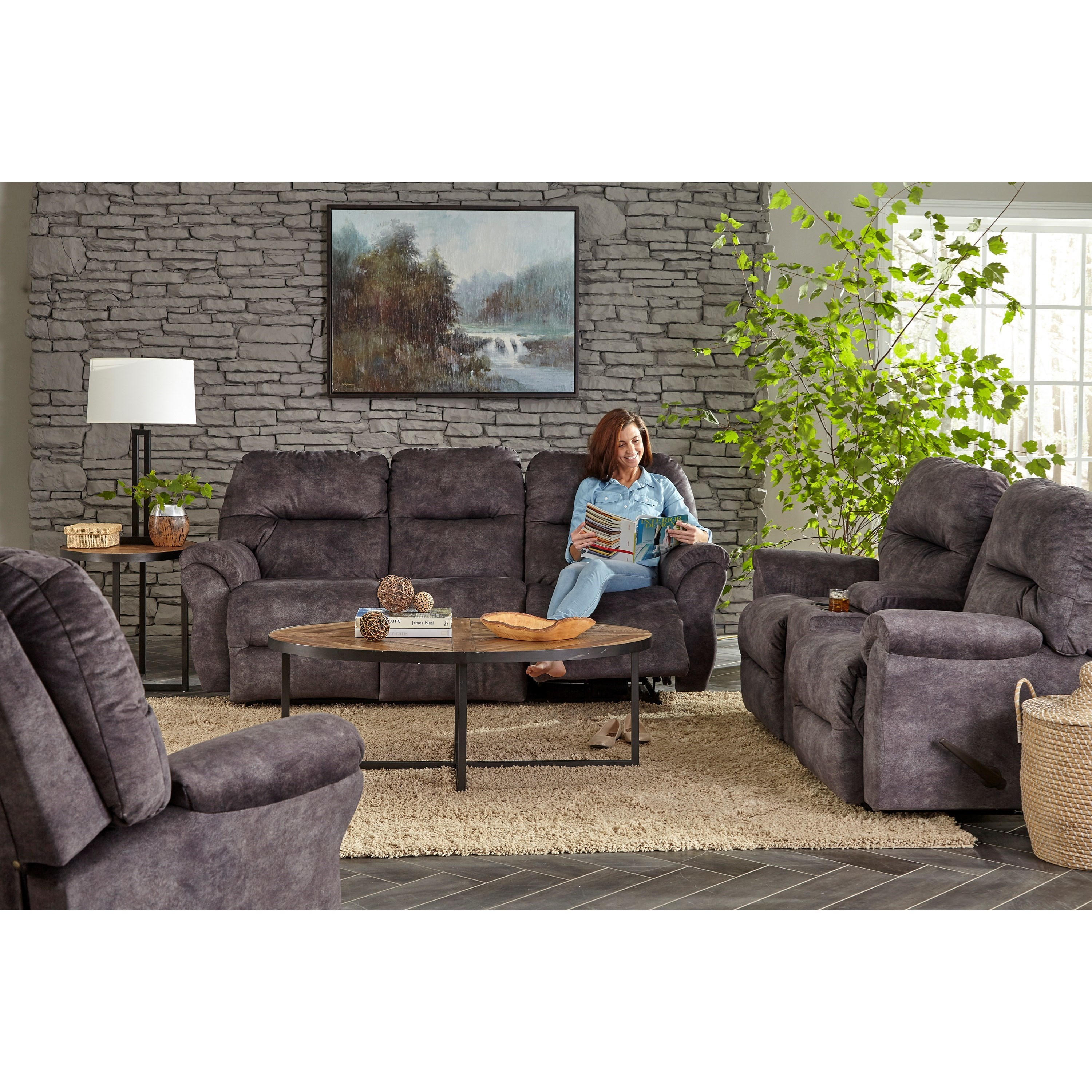 Rocking Reclining Loveseat With Storage Console By Best