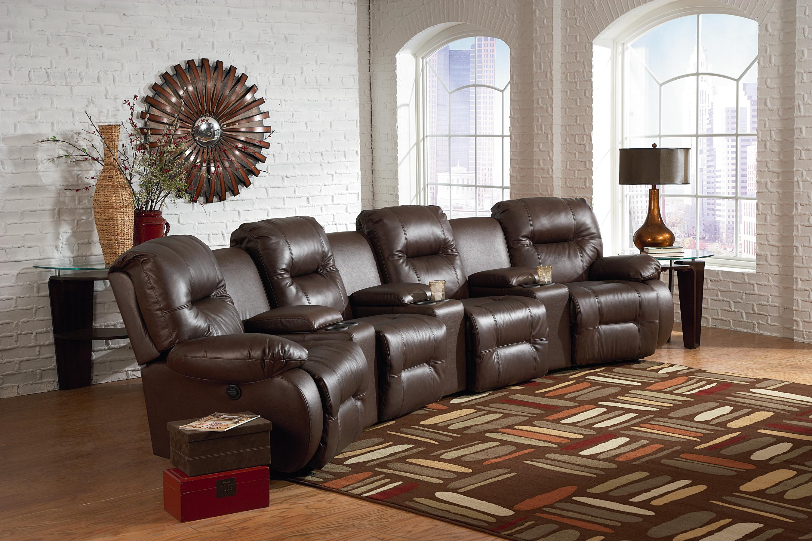 Seven Piece Power Reclining Home Theater Group with Three Drink