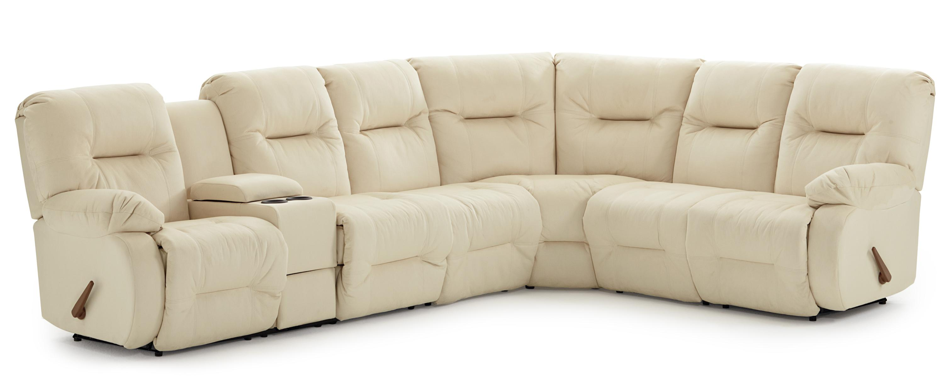 Casual reclining sectional sofa with storage console and cupholders by best home furnishings Storage loveseat