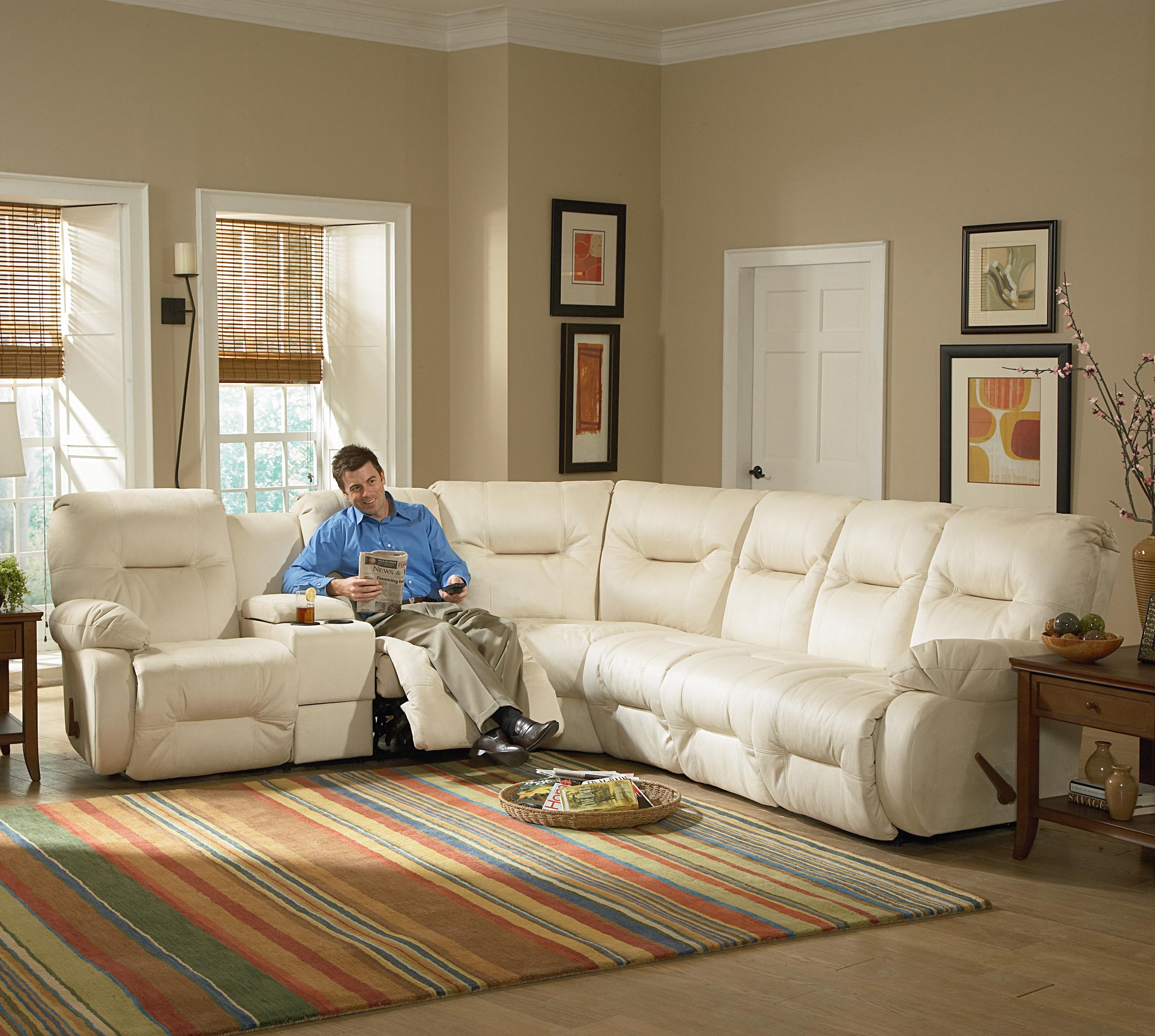 Home Furiture: Casual Power Reclining Sectional Sofa With Storage Console