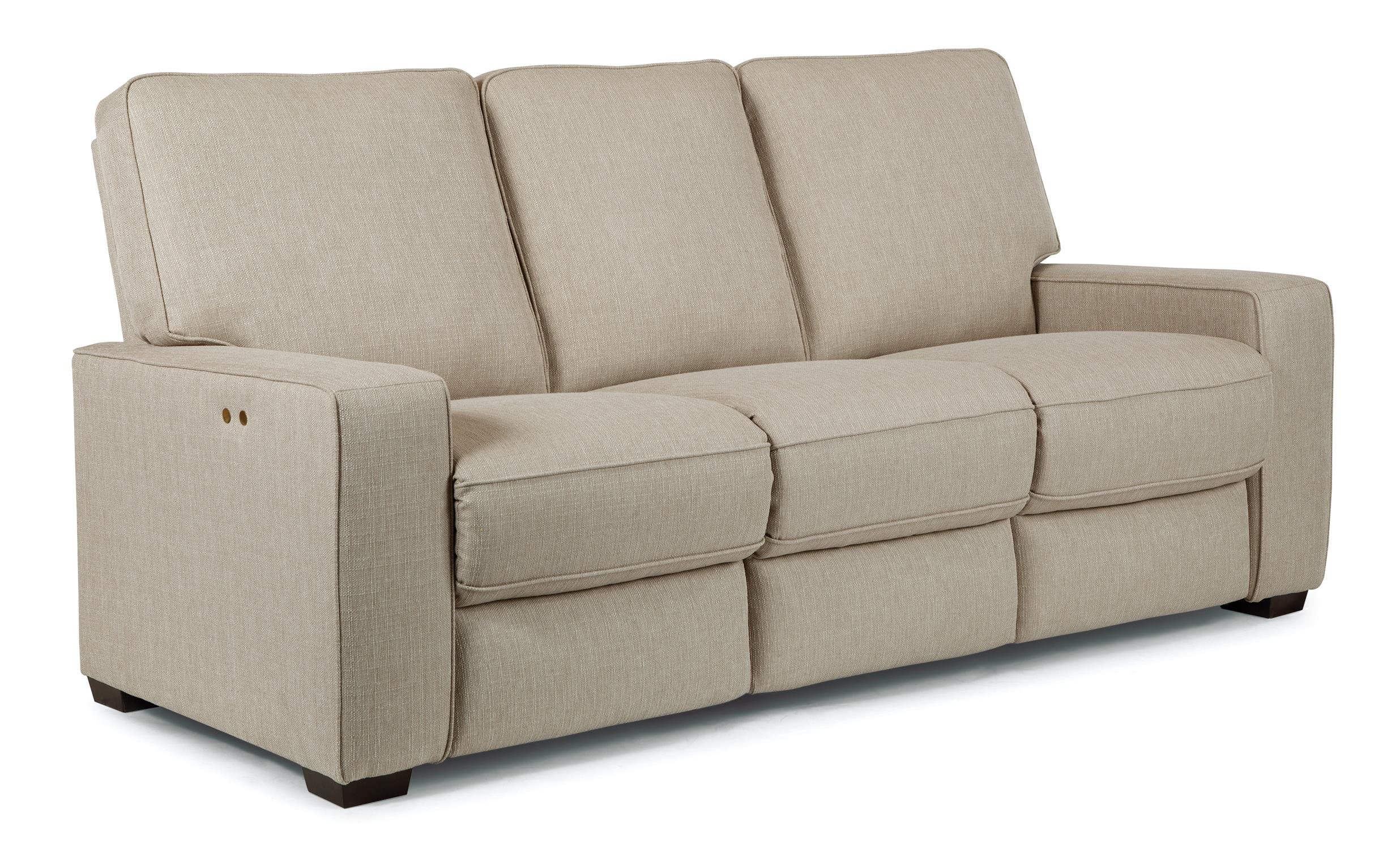 Contemporary Power Reclining Sofa with Exposed Wood Legs by Best
