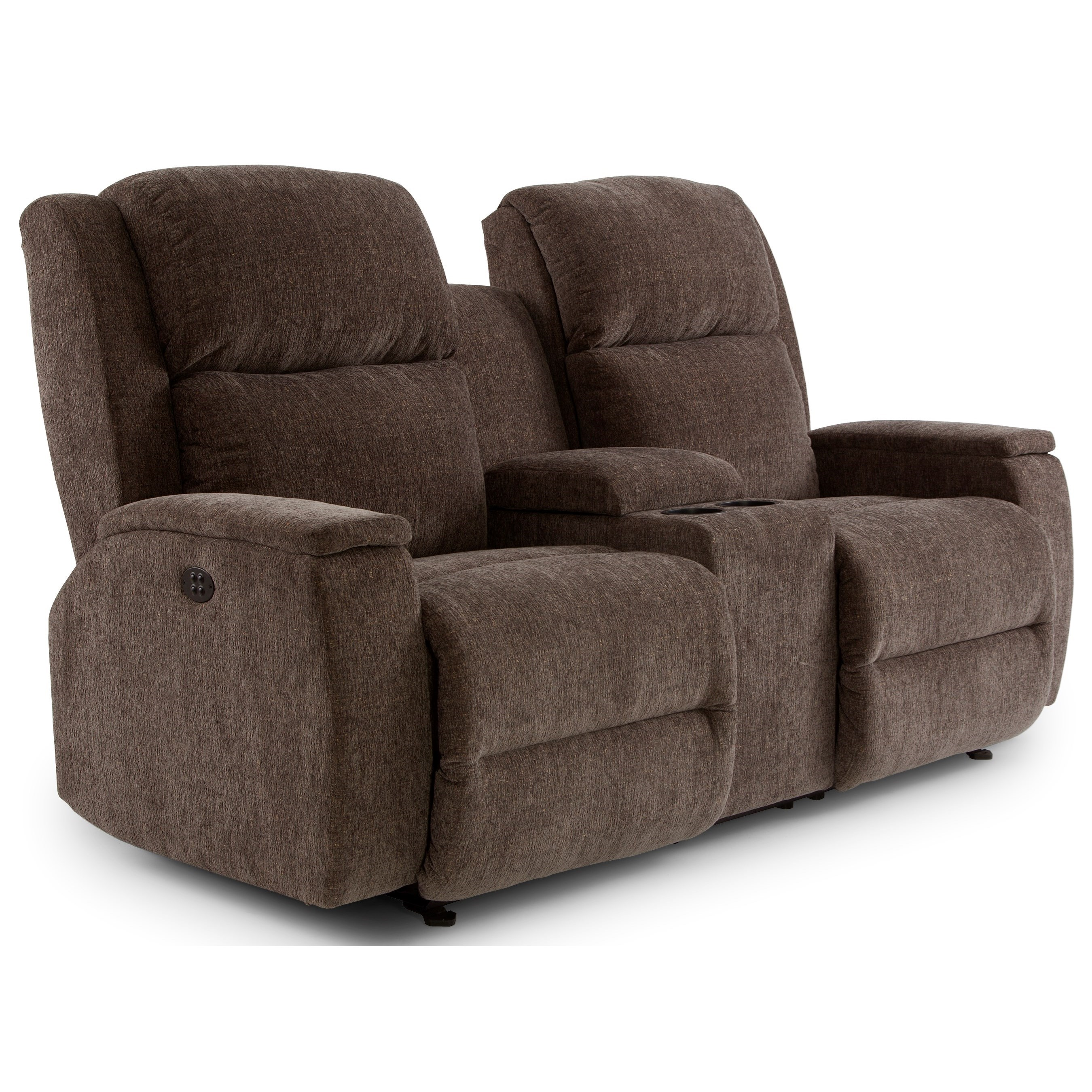 Power rocking reclining console loveseat with power tilt headrest by best home furnishings Rocking loveseats